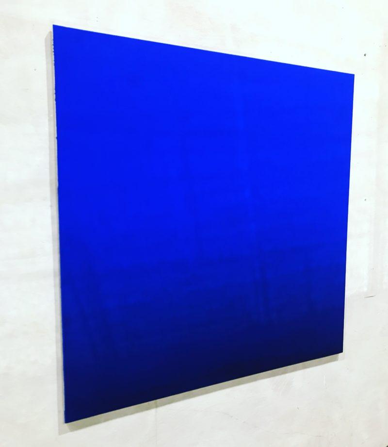 ULTRAMARINBLAU HELL/ DUNKEL MATT Leinwand : 135 x 135 x 2 cm Tempera Airbrush Acrylic