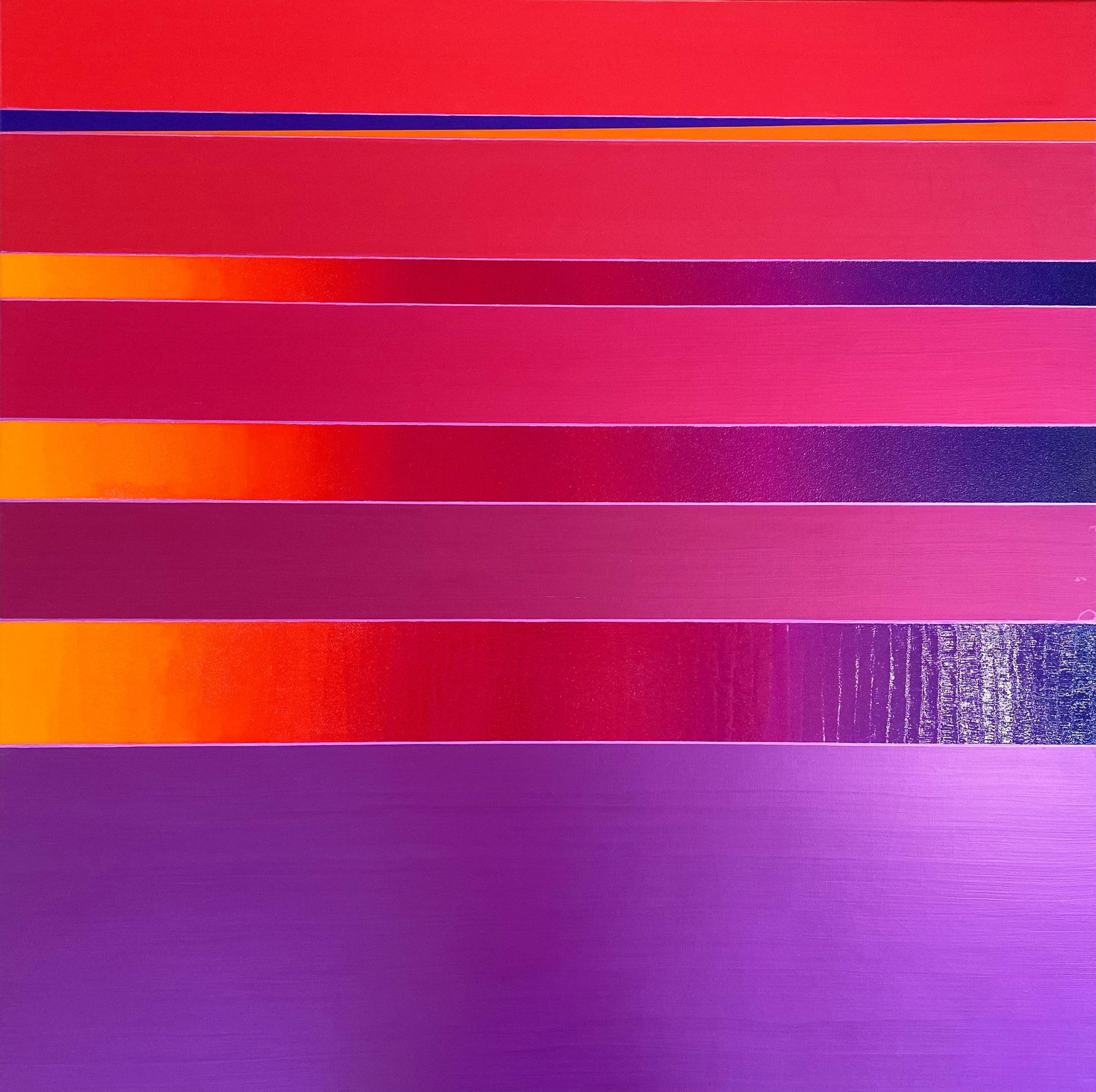 WAHRNEHMUNGSSTREIFEN 020 Canvas 100 x 100 x 2 cm Acrylic metallic glossy Oil Glitter glossy on canvas